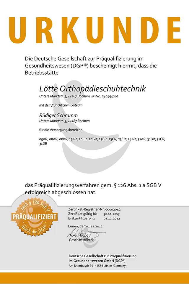 SCHRAMM Orthopädietechnik Bochum | Präqualifizierung