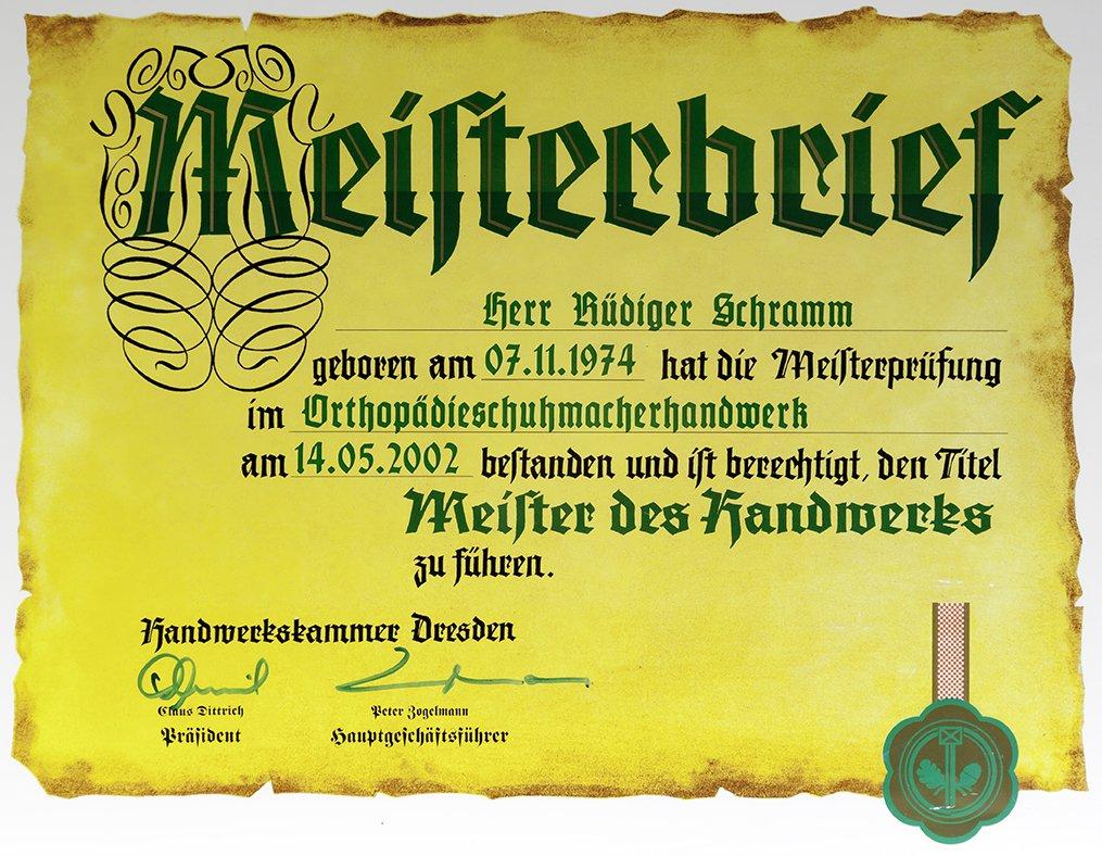 SCHRAMM Orthopädietechnik Bochum | Meisterbrief